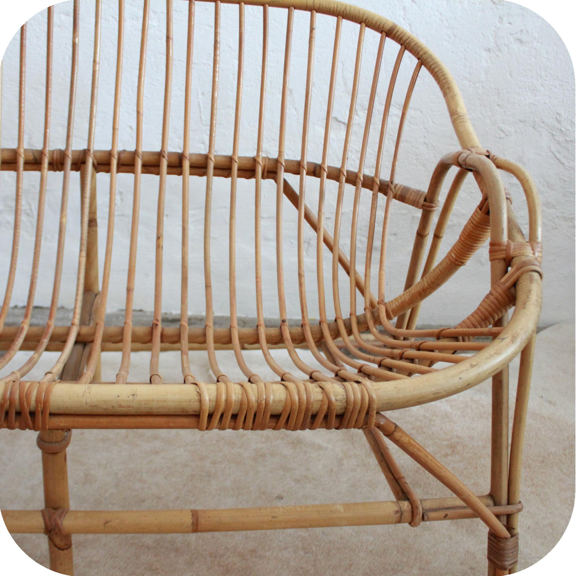 d546 mobilier vintage banquette canap vintage rotin e. Black Bedroom Furniture Sets. Home Design Ideas