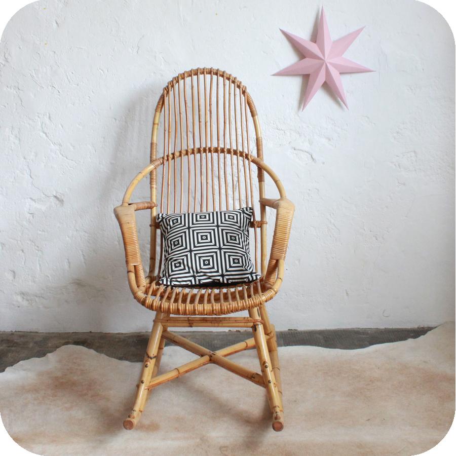 rocking chair vintage rotin atelier du petit parc. Black Bedroom Furniture Sets. Home Design Ideas