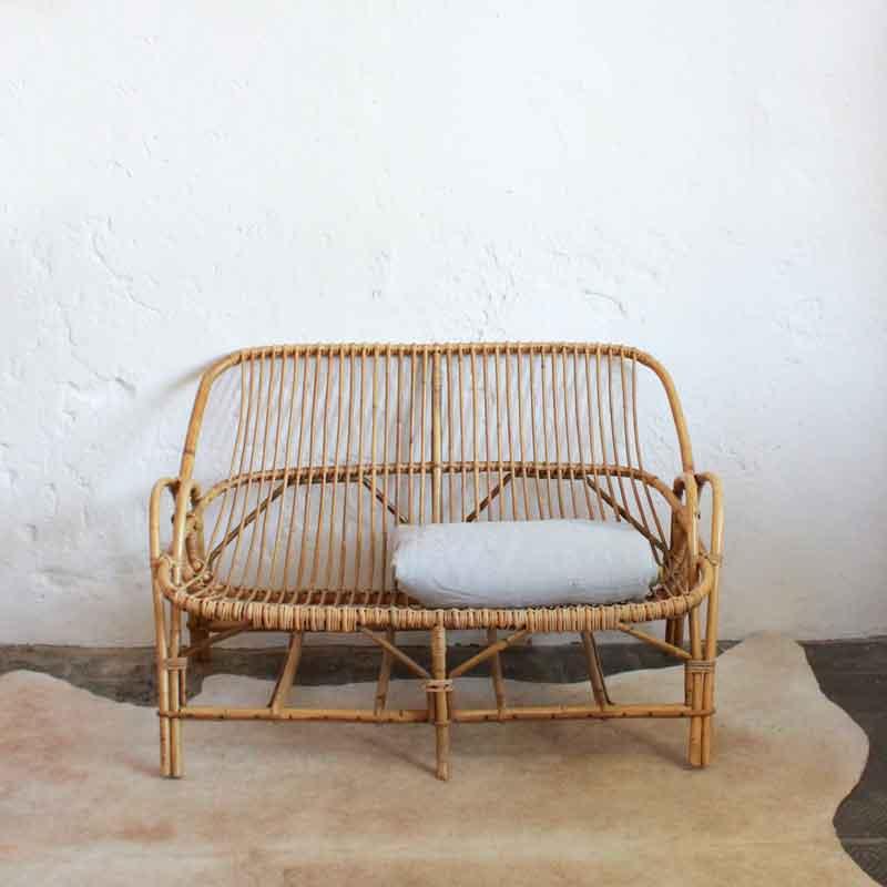 banquette ancienne en rotin atelier du petit parc. Black Bedroom Furniture Sets. Home Design Ideas