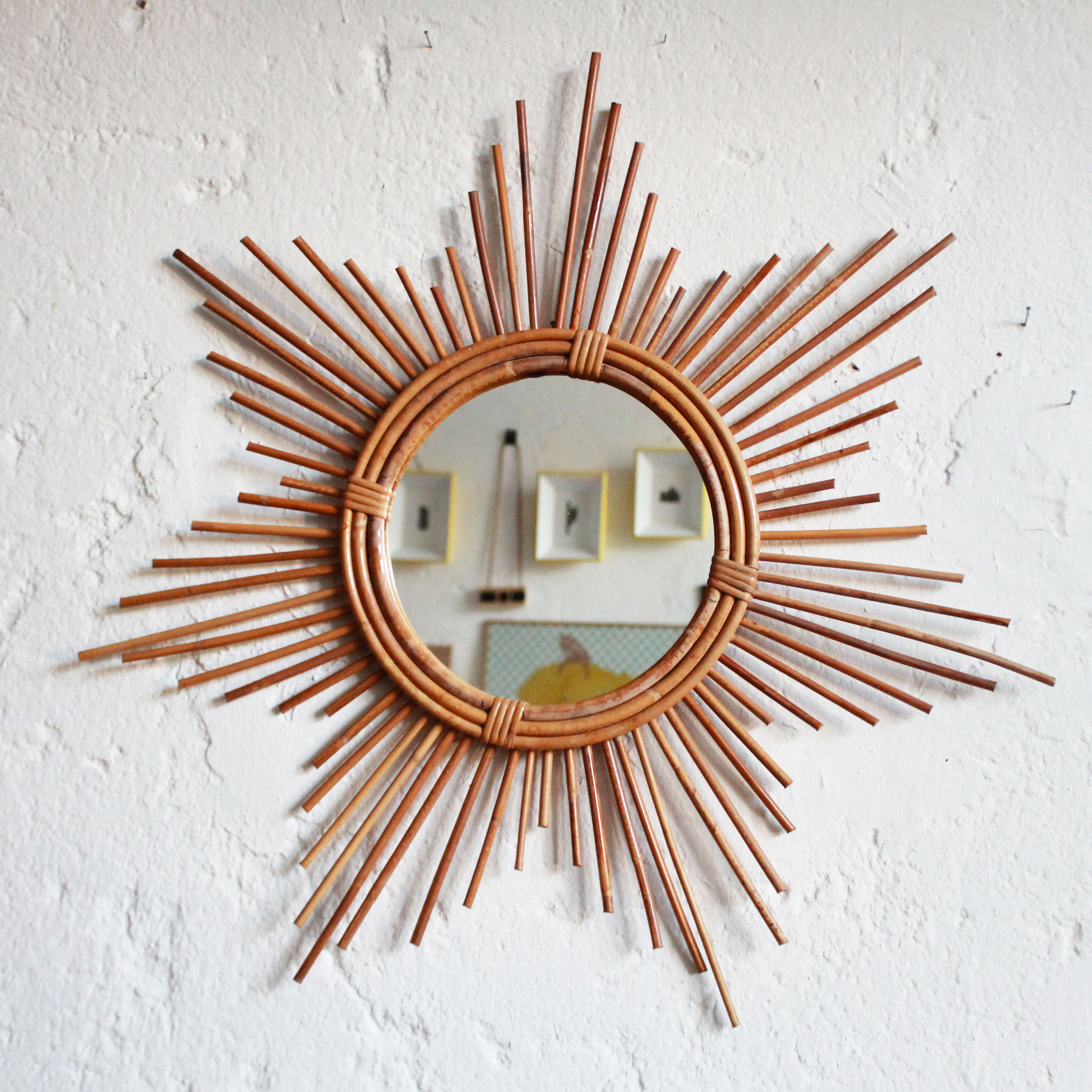Miroir rotin vintage ann es 50 ann es 60 atelier du petit parc - Miroir en rotin ...
