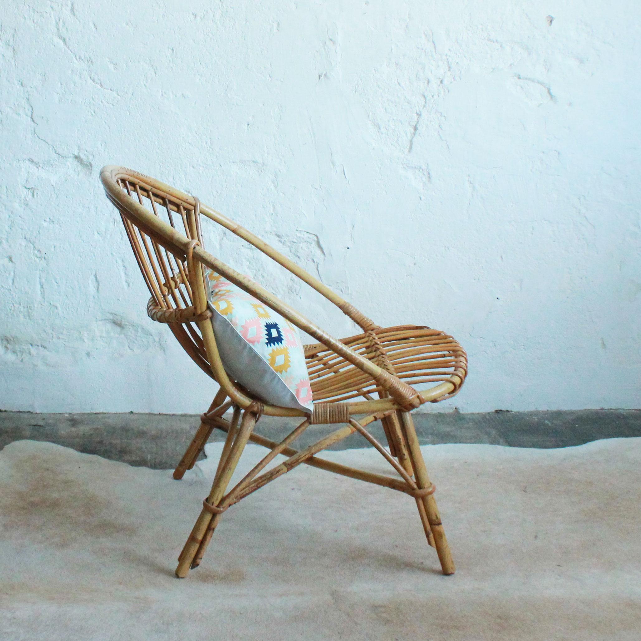 Fauteuil rotin vintage c676 c atelier du petit parc - Petit fauteuil vintage ...