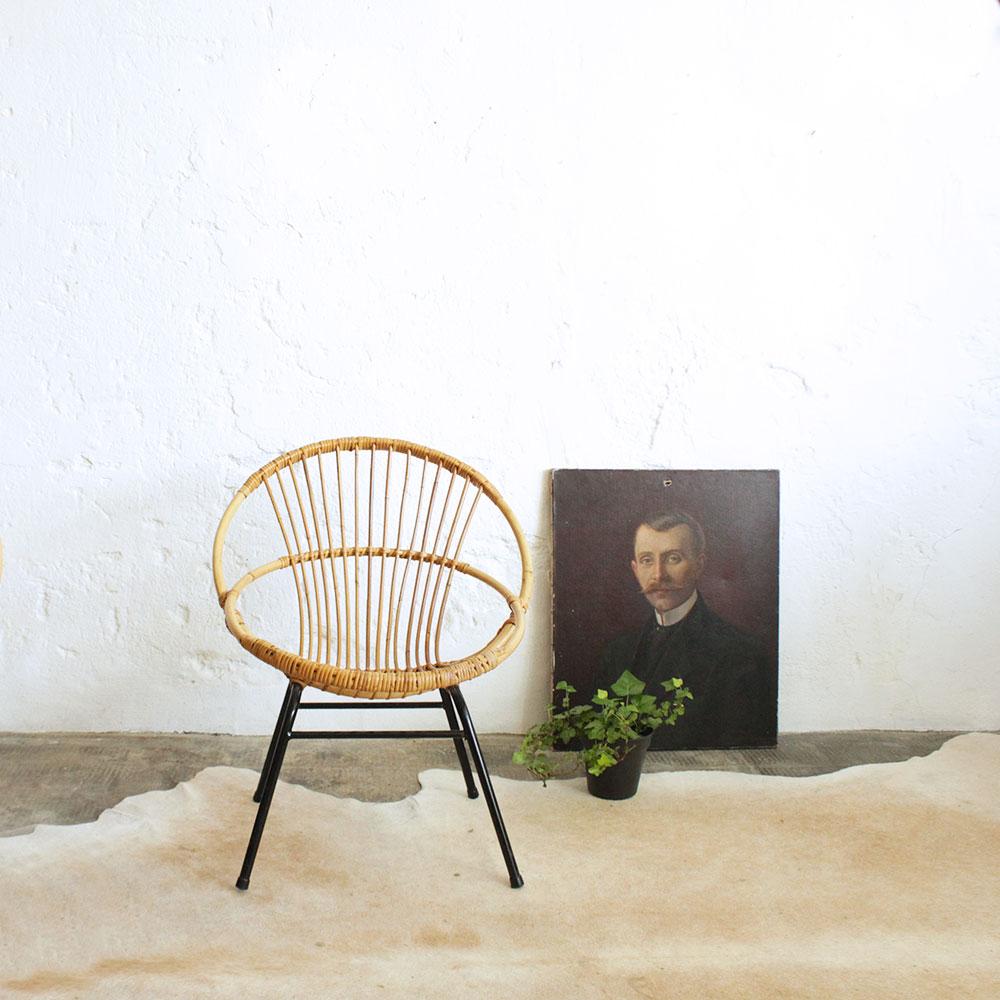 fauteuil rotin vintage forme coquille atelier du petit parc. Black Bedroom Furniture Sets. Home Design Ideas