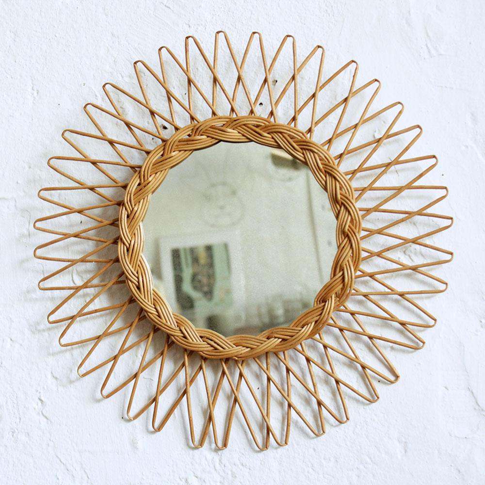 Miroir osier vintage soleil f463 atelier du petit parc for Miroir soleil osier