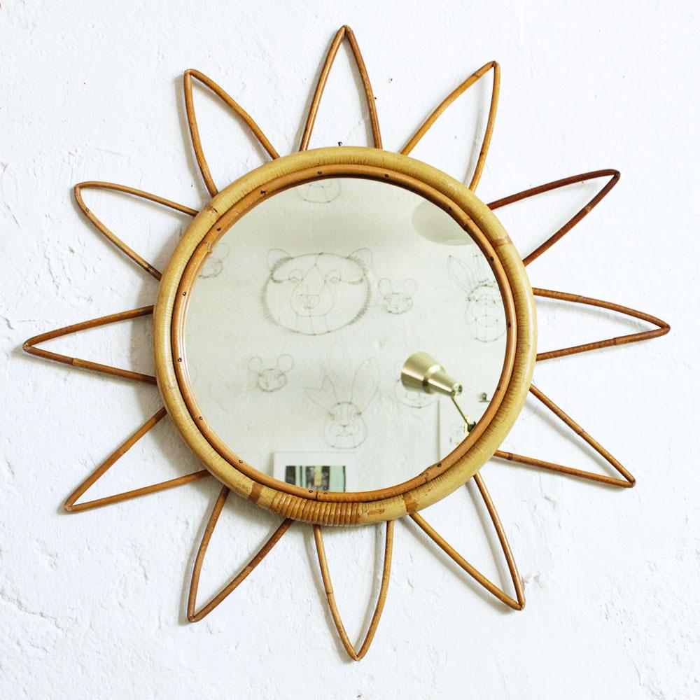 miroir rotin vintage forme toile atelier du petit parc. Black Bedroom Furniture Sets. Home Design Ideas