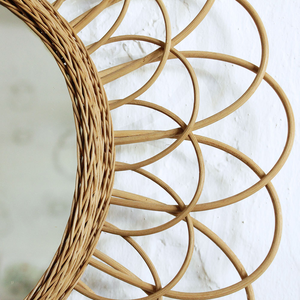 miroir rotin vintage fleur f464 atelier du petit parc. Black Bedroom Furniture Sets. Home Design Ideas