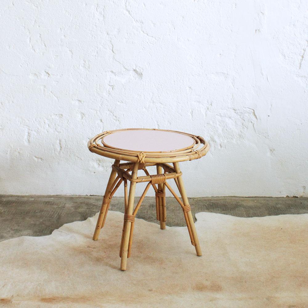 Table Basse Rotin Vintage F374 Atelier Du Petit Parc