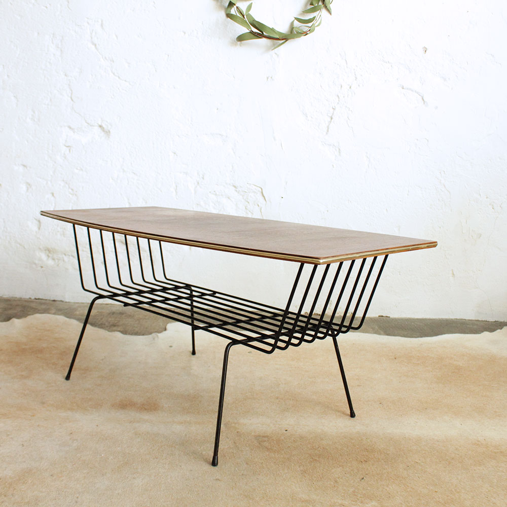 Table basse vintage m tal f384 atelier du petit parc - Table basse vintage bois ...