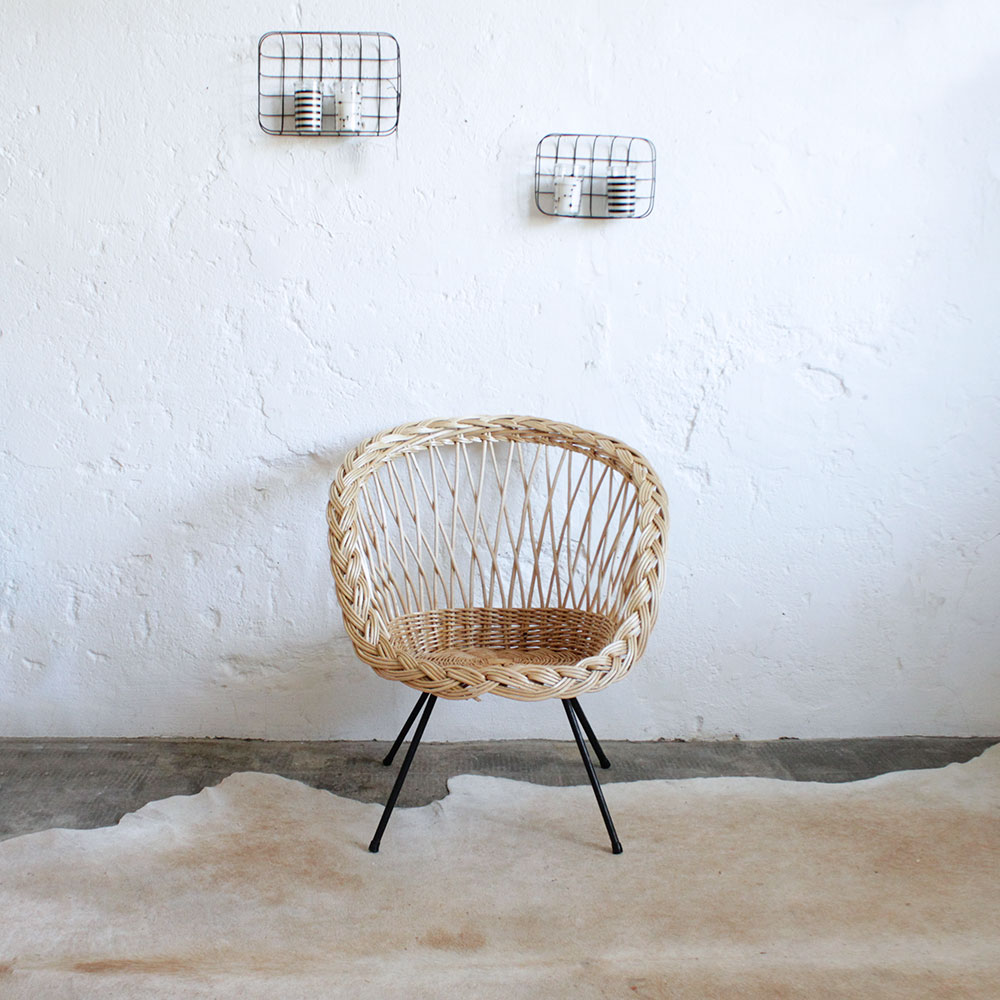 fauteuil osier vintage atelier du petit parc. Black Bedroom Furniture Sets. Home Design Ideas
