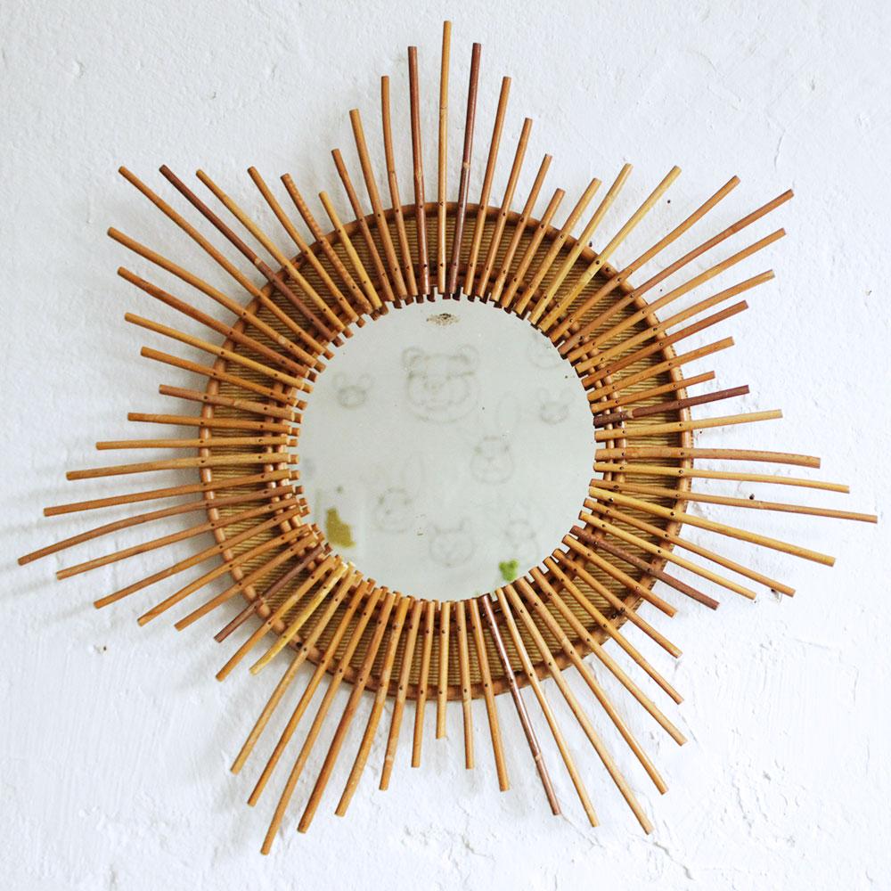 miroir rotin vintage forme etoile atelier du petit parc. Black Bedroom Furniture Sets. Home Design Ideas
