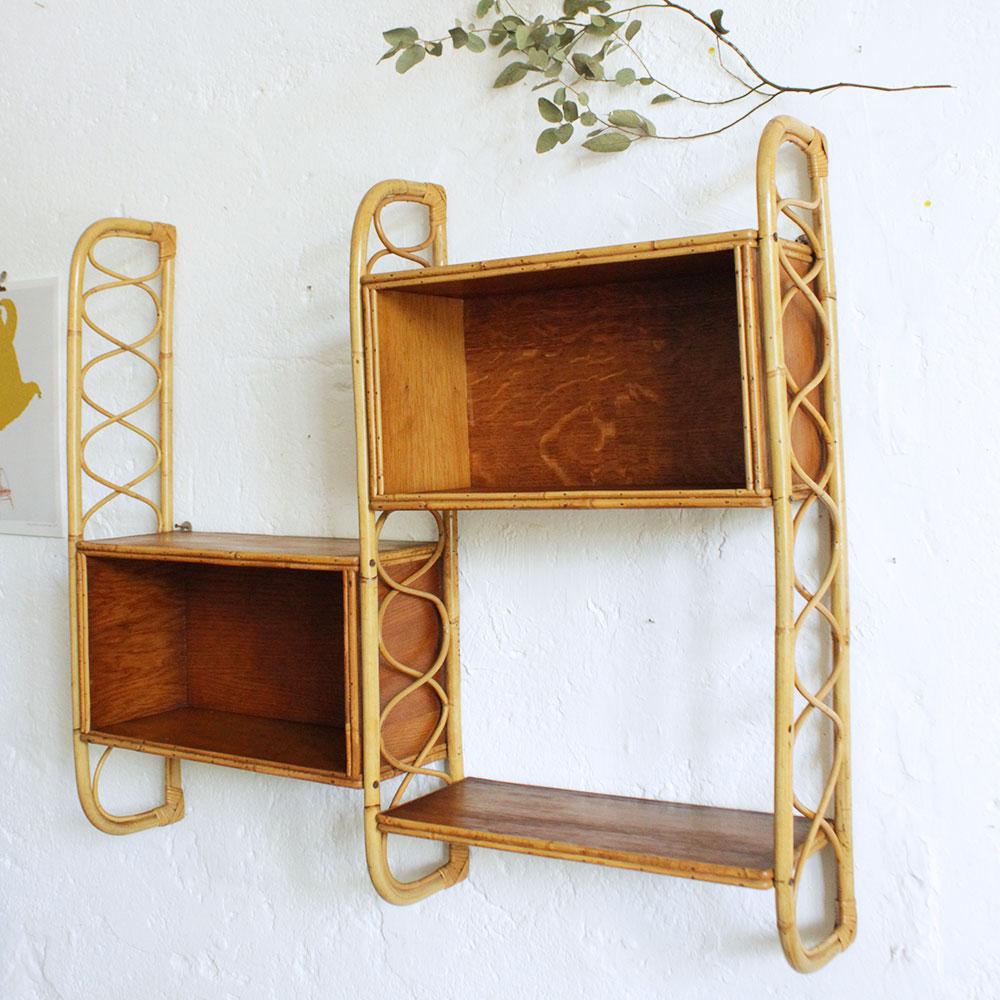 bibliotheque rotin vintage caisson f380 c atelier du petit parc. Black Bedroom Furniture Sets. Home Design Ideas