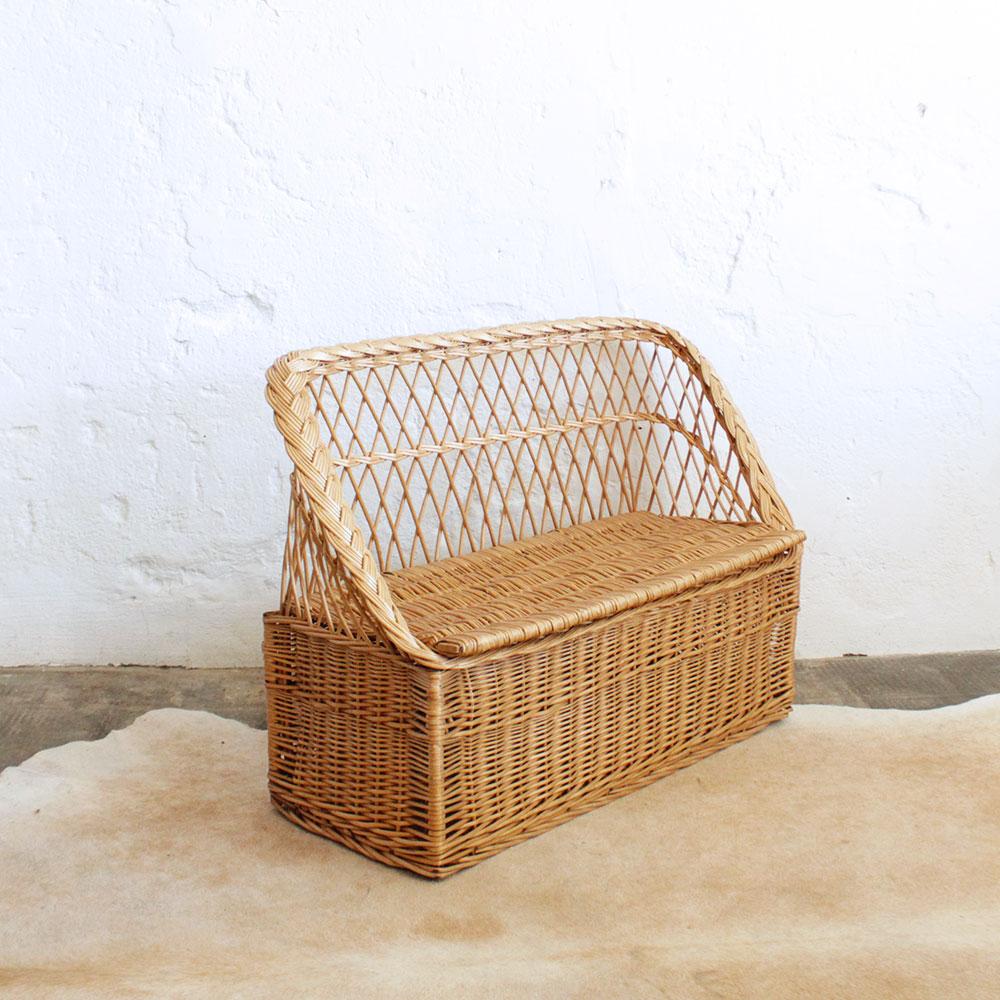 mobilier vintage banc coffre osier atelier du petit parc. Black Bedroom Furniture Sets. Home Design Ideas