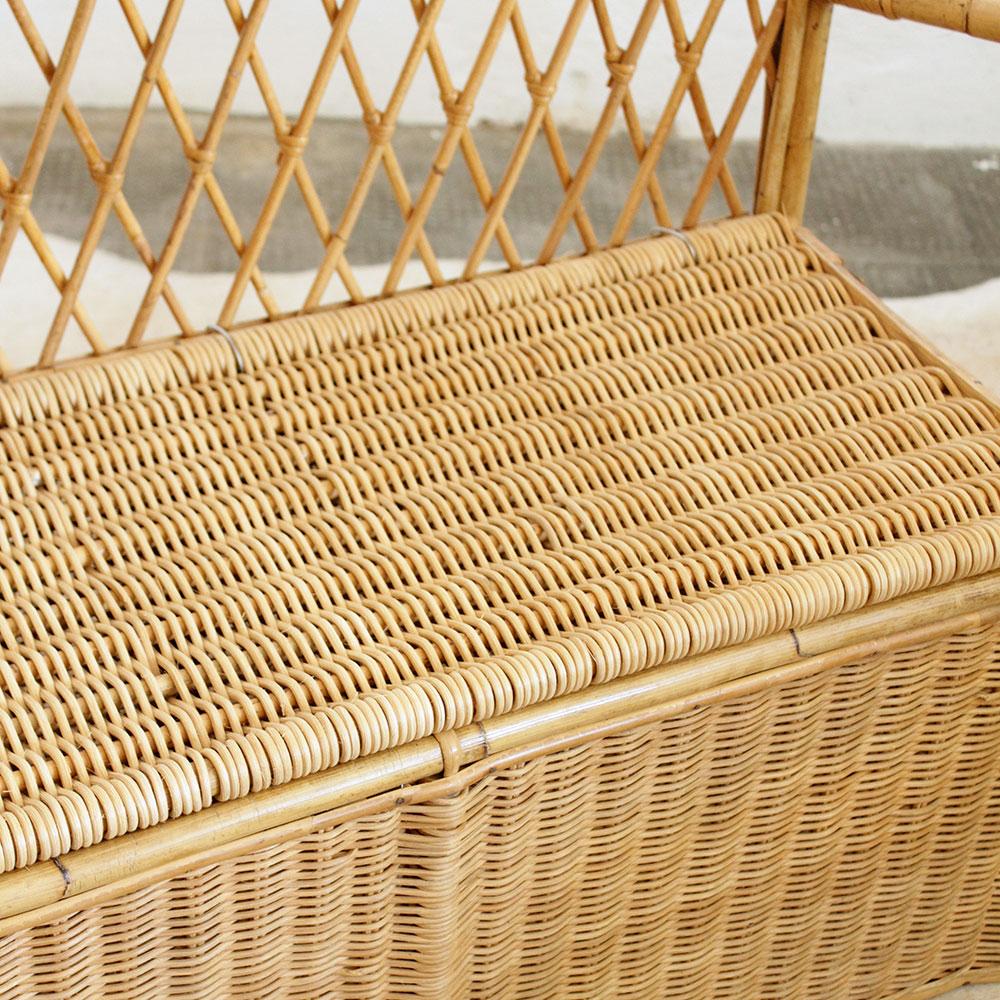 mobilier vintage banc coffre rotin atelier du petit parc. Black Bedroom Furniture Sets. Home Design Ideas
