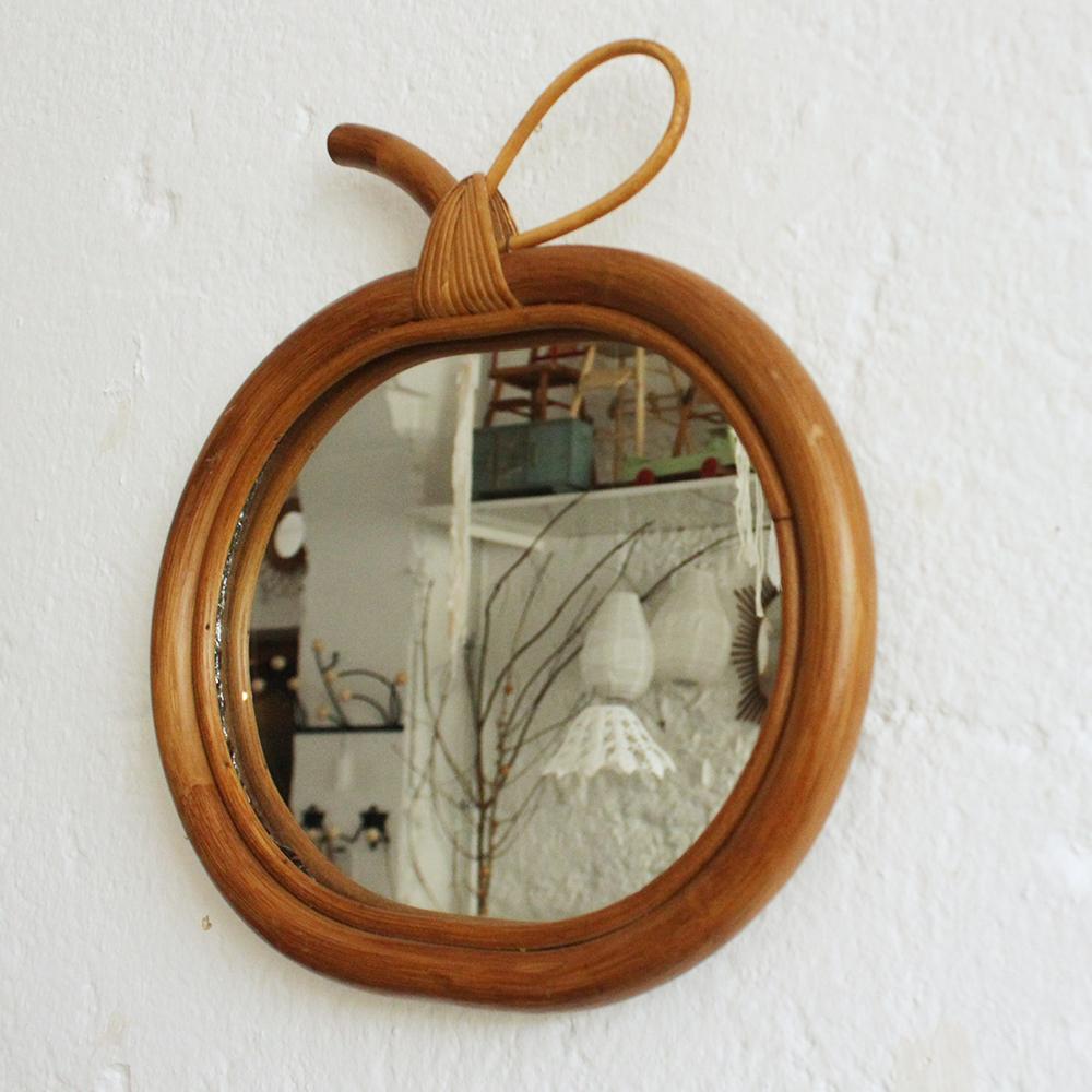 miroir rotin vintage pomme atelier du petit parc. Black Bedroom Furniture Sets. Home Design Ideas