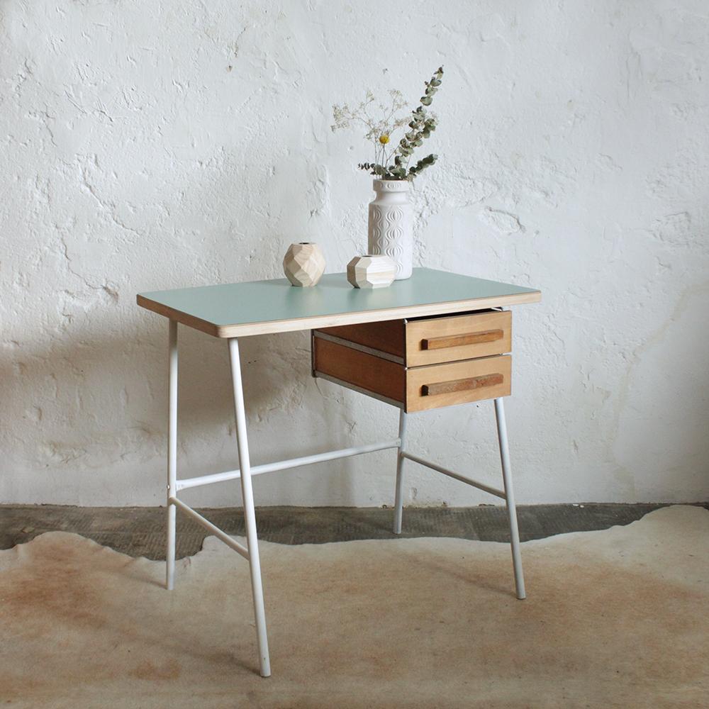 Bureau vintage chrome atelier du petit parc - Petit bureau vintage ...