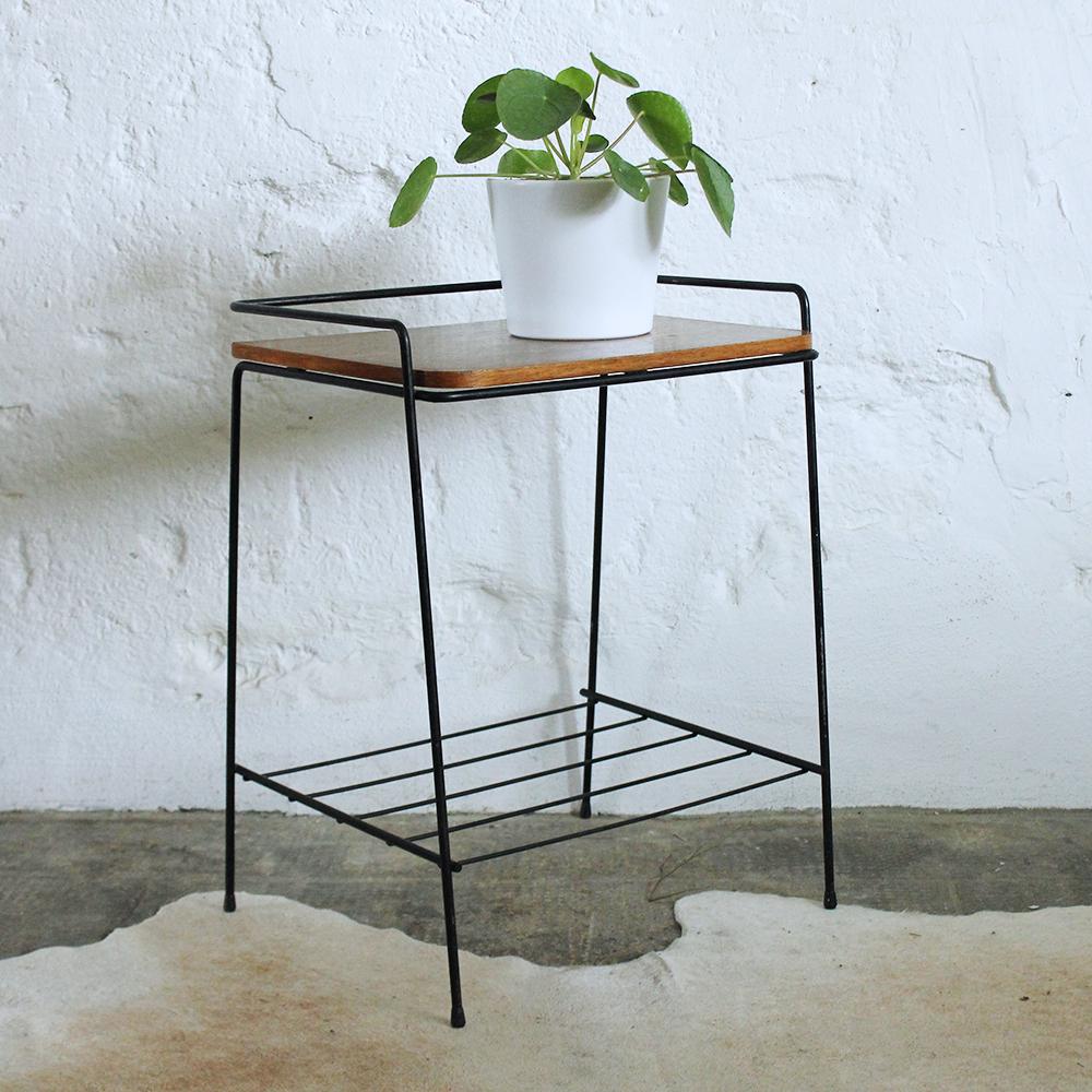 Table d 39 appoint m tal vintage atelier du petit parc for Table d appoint miroir