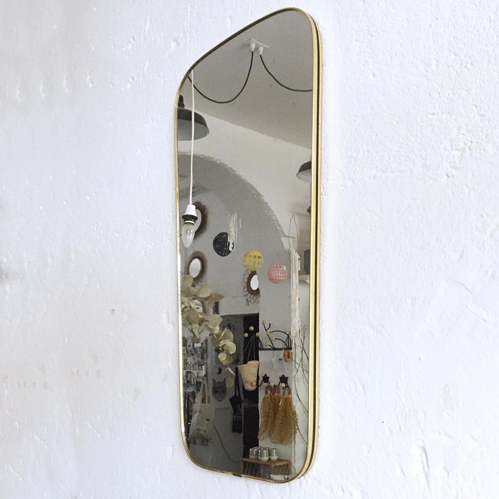 Miroir r troviseur vintage atelier du petit parc for Miroir bordure doree