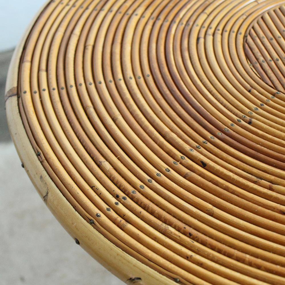 Table Basse Ronde Rotin Vintage G516 D Atelier Du Petit Parc
