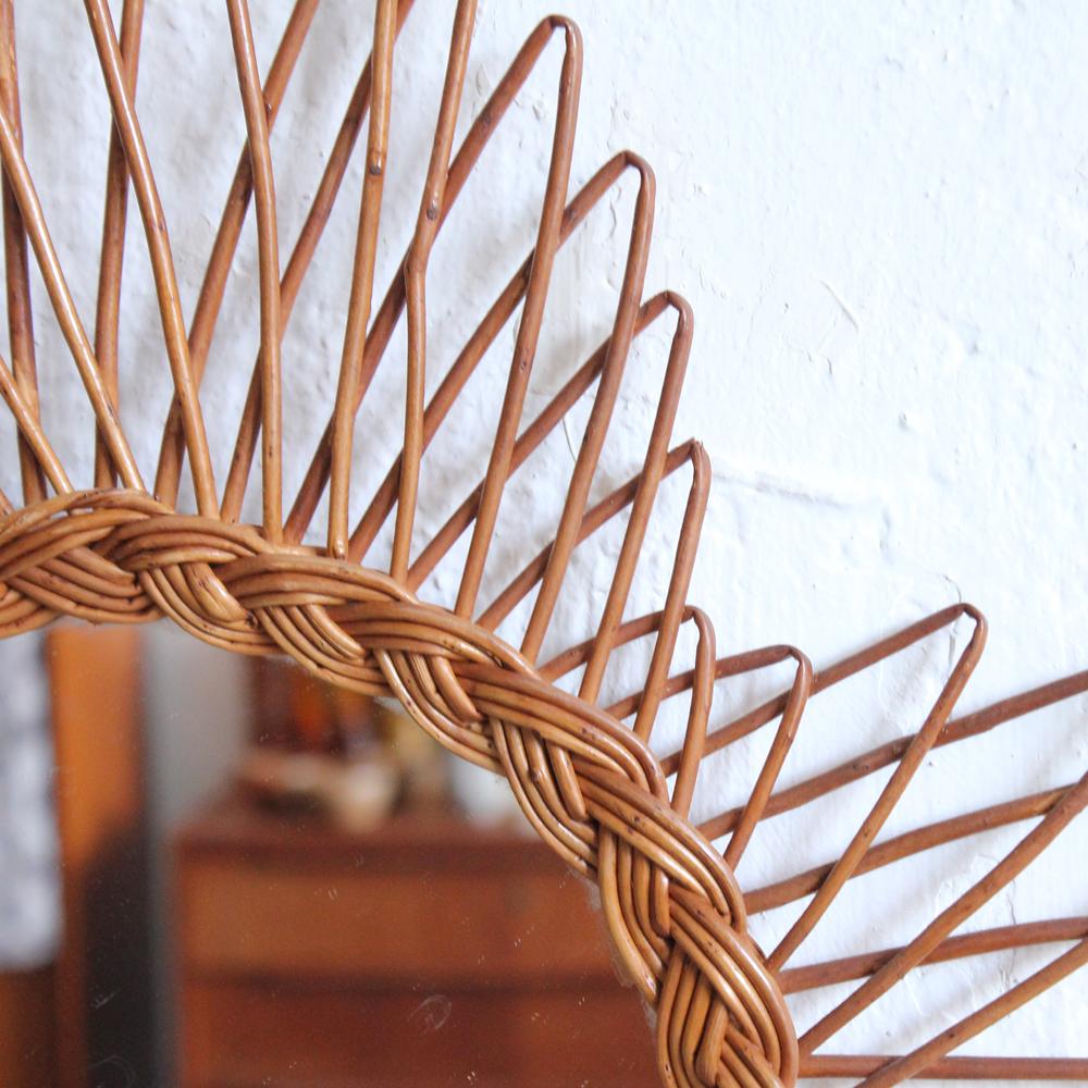 miroir osier vintage tr fle atelier du petit parc. Black Bedroom Furniture Sets. Home Design Ideas