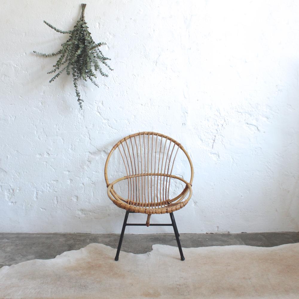 fauteuil rotin vintage coquille atelier du petit parc. Black Bedroom Furniture Sets. Home Design Ideas