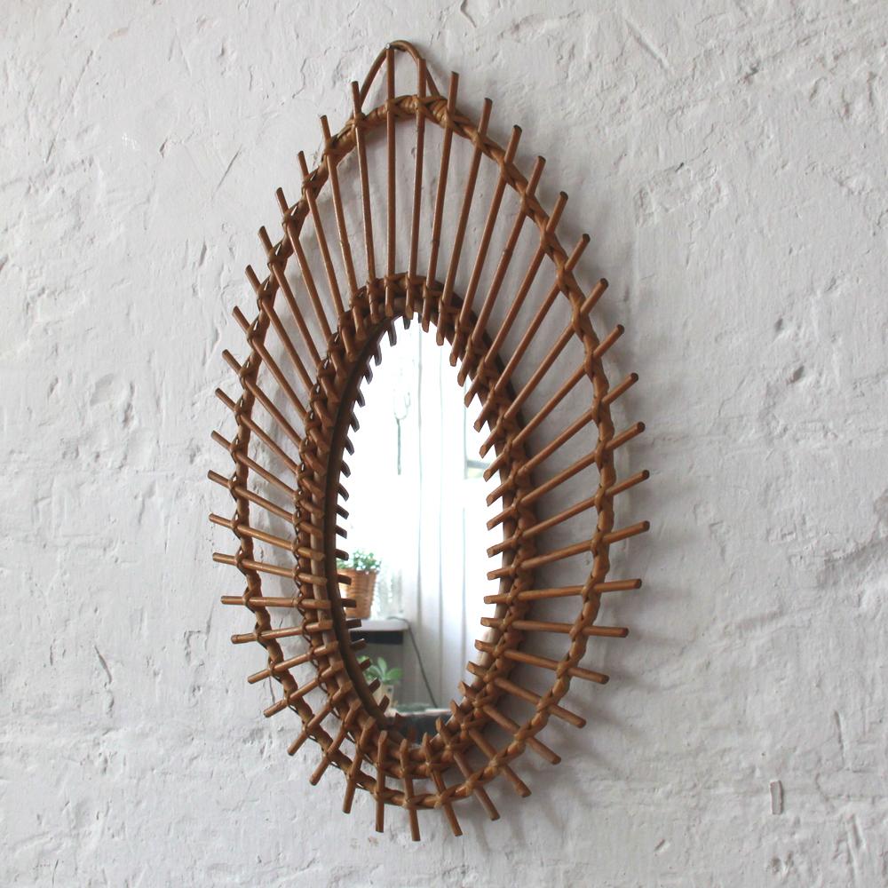 miroir rotin vintage amande h464 b atelier du petit parc. Black Bedroom Furniture Sets. Home Design Ideas