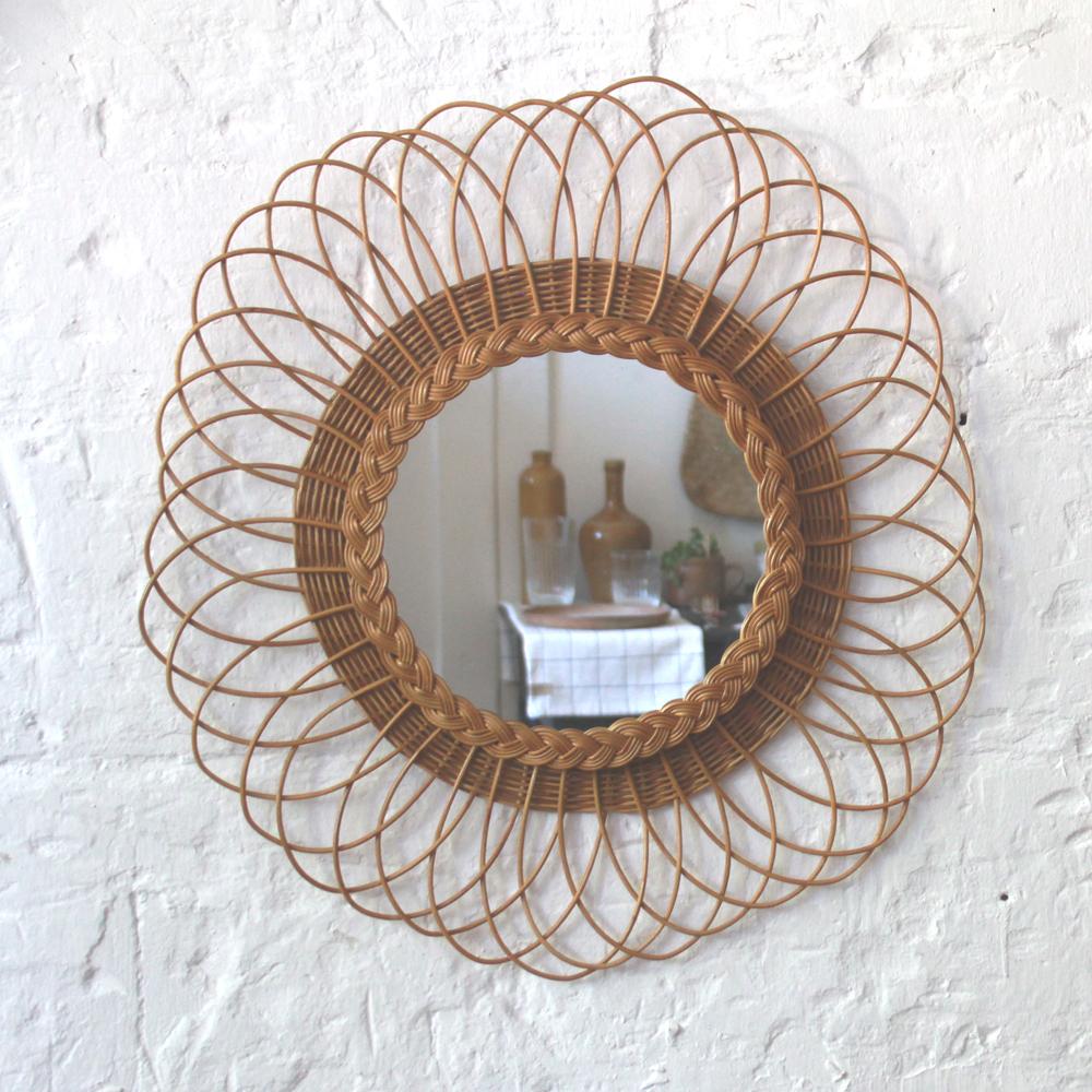 miroir rotin vintage ancien fleur h542 a atelier du