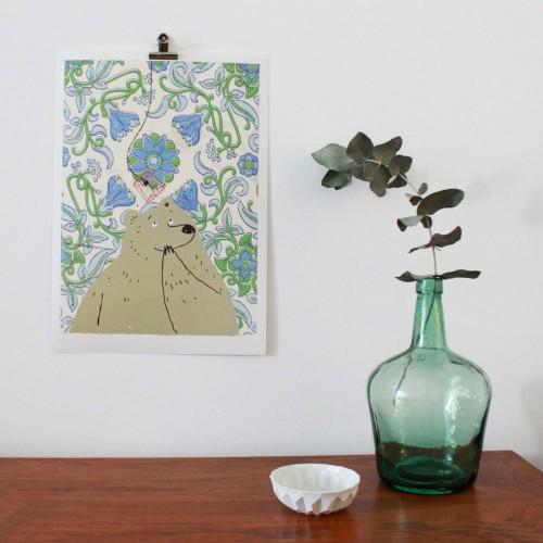 dominique-le-bagousse-illustration-ours-douce-lumiere-papier-peint-a