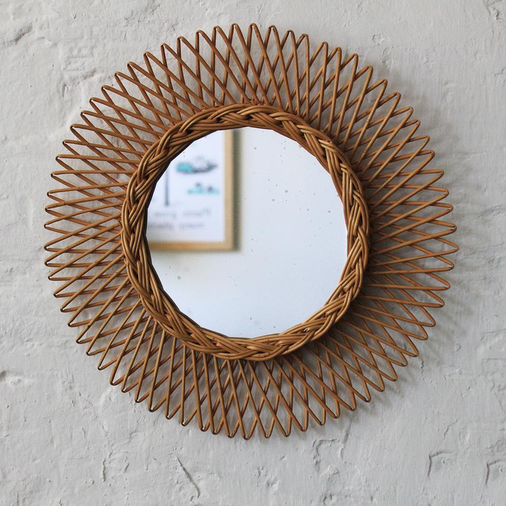 Miroir osier forme soleil vintage atelier du petit parc for Miroir osier