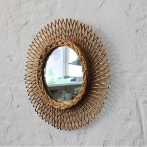 miroir osier soleil vintage h567 b atelier du petit parc. Black Bedroom Furniture Sets. Home Design Ideas