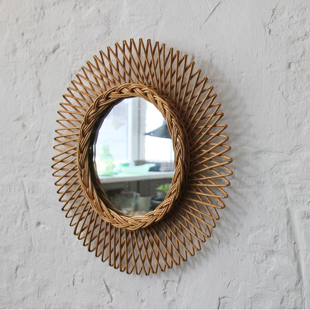 miroir osier forme soleil vintage atelier du petit parc