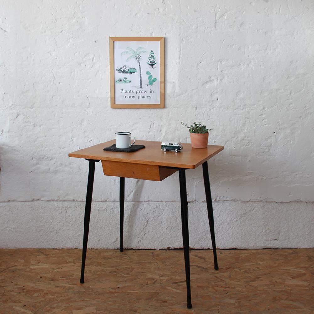 bureau table ecole vintage noir h609 b atelier du petit parc. Black Bedroom Furniture Sets. Home Design Ideas