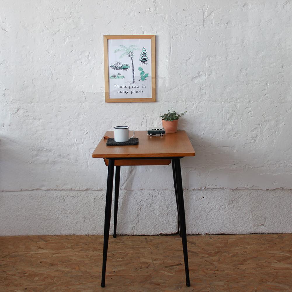 Bureau table ecole vintage noir h609 c atelier du petit parc for Table bureau noir