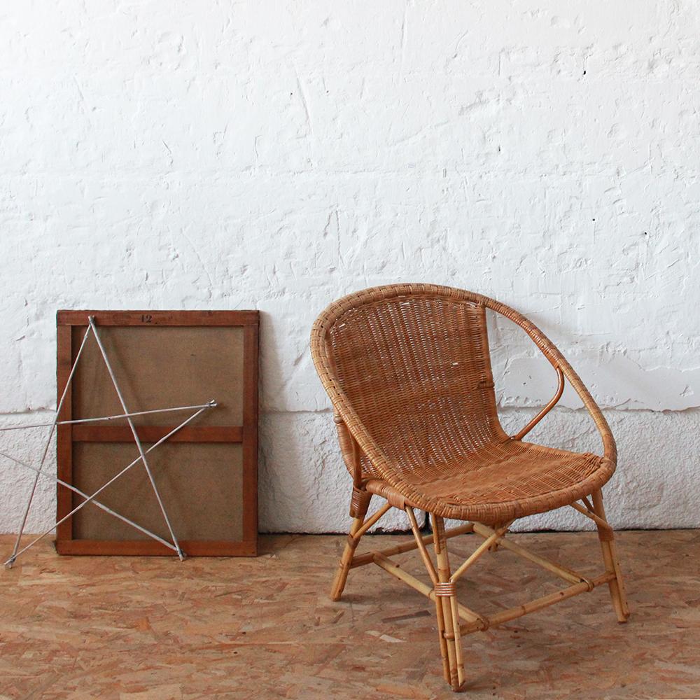fauteuil moelle de rotin vintage atelier du petit parc. Black Bedroom Furniture Sets. Home Design Ideas