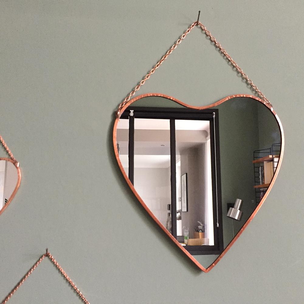 Miroir cuivre grand coeur atelier du petit parc for Grand miroir cuivre
