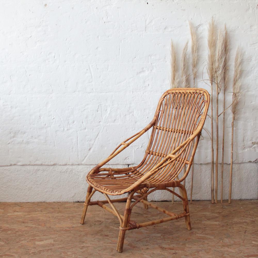 Fauteuil Rotin Vintage Confortable Atelier Du Petit Parc